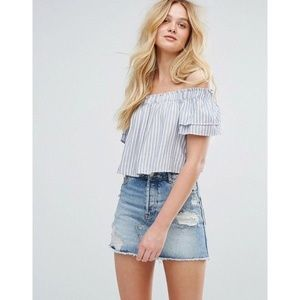 Women's Blue Stripe Off The Shoulder Crop Top